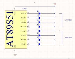 Gambar 1. Rangkaian Display LED pada Port 0